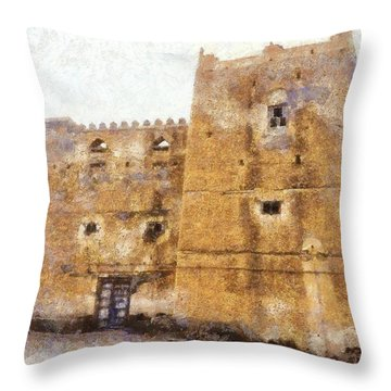 Old Mansion In Mirbat Throw Pillow