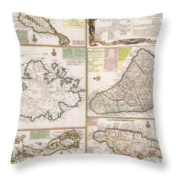 Old Map Of English Colonies In The Caribbean Throw Pillow by German School