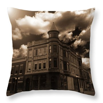 Old Menominee Corner Store Building Throw Pillow