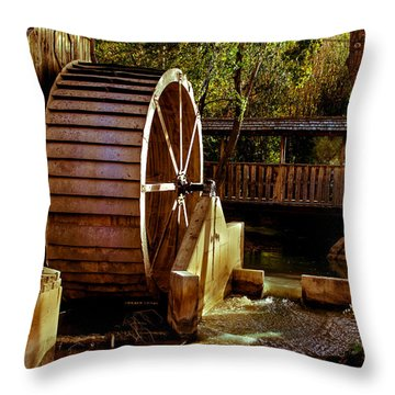 Old Mill Park Wheel Throw Pillow by Robert Bales