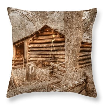 Old Mill Work Cabin Throw Pillow by Dan Stone
