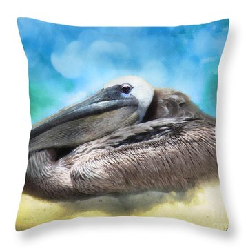 Old Mr. Pelican Throw Pillow