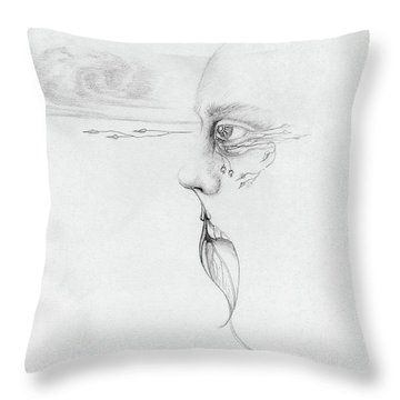 Old Nature Face Black And White Art Looking Into Cloud  L Leaf Beard Fantasy Flower Tear Surreal Throw Pillow by Rachel Hershkovitz
