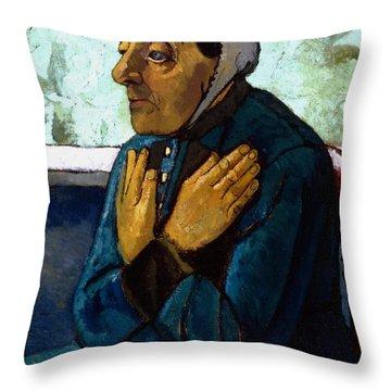 Old Peasant Woman Throw Pillow by Paula Modersohn-Becker