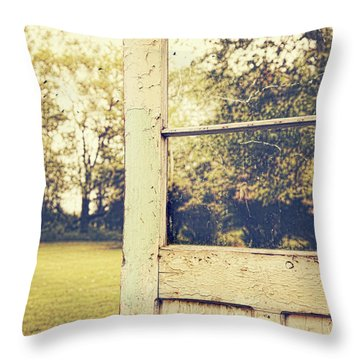 Old Peeling Door With Landscape Throw Pillow by Sandra Cunningham