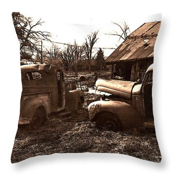 'old Pickup Trucks' Throw Pillow by Michael Lang