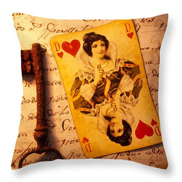 Old Playing Card And Key Throw Pillow