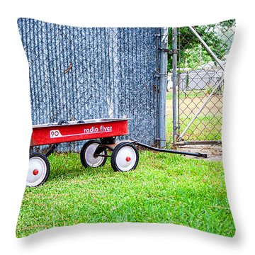 Throw Pillow featuring the photograph Old Radio Flyer Wagon by Ester  Rogers