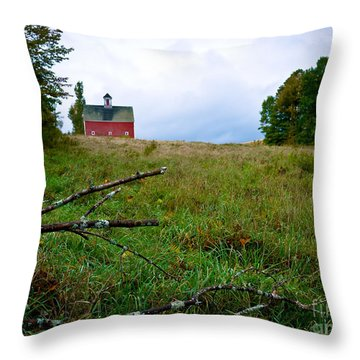Old Red Barn On The Hill Throw Pillow by Edward Fielding
