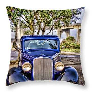 Old Roadster - Blue Throw Pillow by Carol Leigh