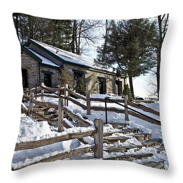 Old Rock Building  Throw Pillow by Susan Leggett