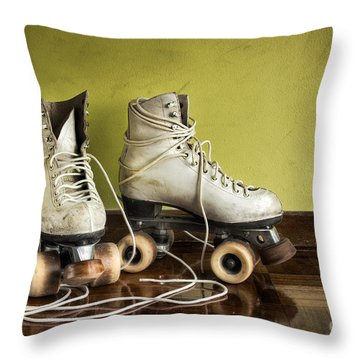 Old Roller-skates Throw Pillow by Carlos Caetano
