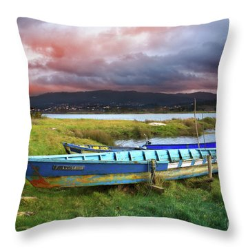 Old Row Boats Throw Pillow by Carlos Caetano