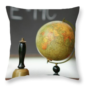Old School Bell On Desk  Throw Pillow by Sandra Cunningham