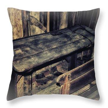 Old School Desk Throw Pillow by Jutta Maria Pusl