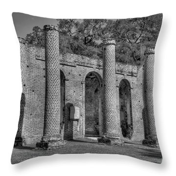 Old Sheldon Church 3 Black And White Throw Pillow