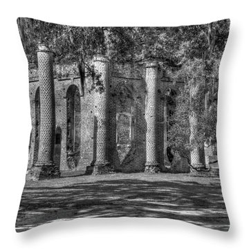 Old Sheldon Church Black And White Throw Pillow