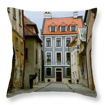Throw Pillow featuring the photograph Old Street In Bratislava by Les Palenik