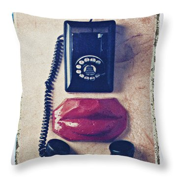 Old Telephone And Red Lips Throw Pillow by Garry Gay