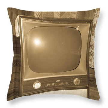 Old Television Throw Pillow by Shannon Harrington