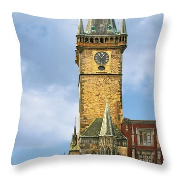 Old Town Hall Prague Cz Throw Pillow by Christine Till
