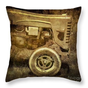 Old Tractor Throw Pillow by Bernard Jaubert