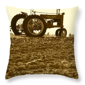 Old Tractor I In Sepia Throw Pillow