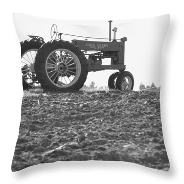 Old Tractor II In Black-and-white Throw Pillow
