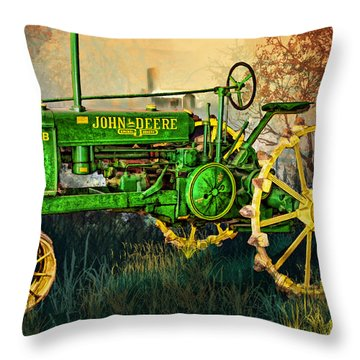 Throw Pillow featuring the digital art Old Tractor by Mary Almond