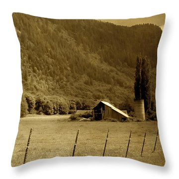 Old Valley Farm Throw Pillow by Michelle Joseph-Long