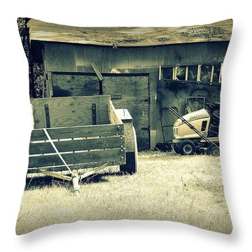 Throw Pillow featuring the photograph Old Wagon And Old Shed by Ester  Rogers