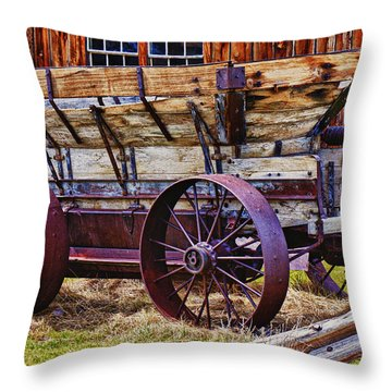 Old Wagon Bodie Ghost Town Throw Pillow