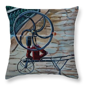 Old Wine Pump Throw Pillow by Dany Lison