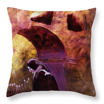 Throw Pillow featuring the painting Old Woman Lighting Candles In Cathedral In Purple And Yellow  by MendyZ M Zimmerman
