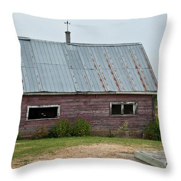 Throw Pillow featuring the photograph Old Wood Shed  by Barbara McMahon