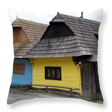 Throw Pillow featuring the photograph Old Wooden Homes by Les Palenik