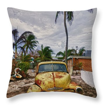 Old Yellow Truck Florida Throw Pillow by Garry Gay