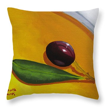 Olive In Olive Oil Throw Pillow by Kayleigh Semeniuk