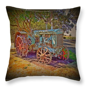 Oliver Tractor 2 Throw Pillow by Nick Kloepping