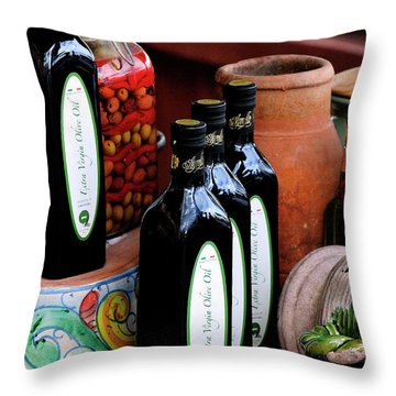 Olives And Olive Oil Throw Pillow