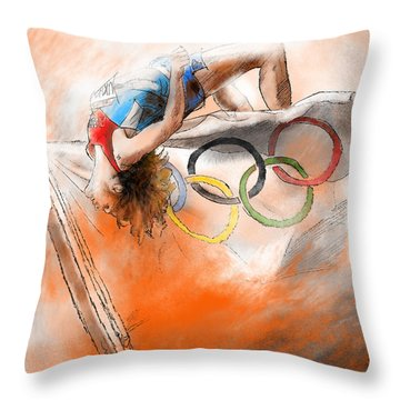 Olympics High Jump Gold Medal Ivan Ukhov Throw Pillow by Miki De Goodaboom