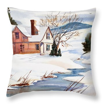 On A Winters Day Watercolor Painting Throw Pillow by Michelle Wiarda