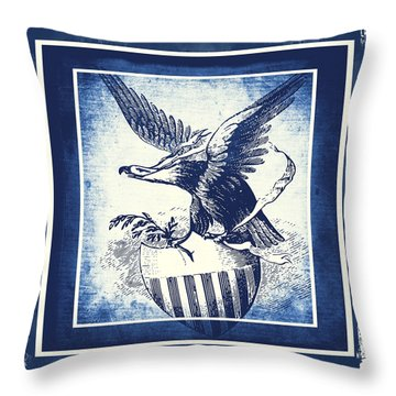 On Eagles Wings Blue Throw Pillow by Angelina Vick