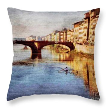 Throw Pillow featuring the photograph On The Arno River by Deborah Smith