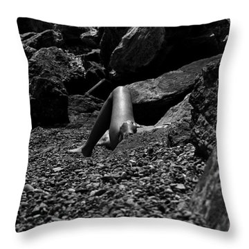 On The Beach Throw Pillow by Michael Mogensen