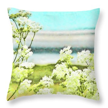 Throw Pillow featuring the digital art On The Mudflats Of Pegwell Bay by Steve Taylor