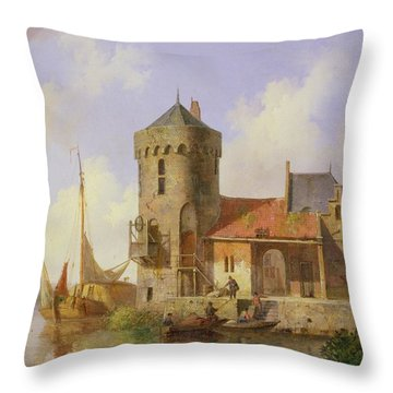 On The Rhine Throw Pillow by Cornelius Springer