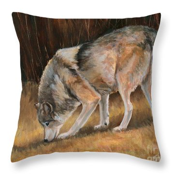 On The Trail - Wolf Throw Pillow by Sheri Gordon