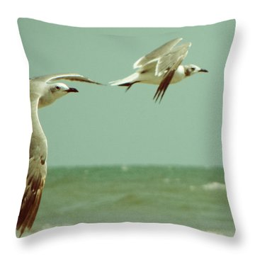 On The Wings Of A Seagull Throw Pillow by Jessica Brawley