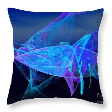 One Fish Blue Fish Throw Pillow by Andee Design